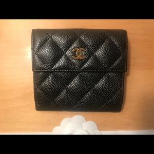 Chanel Black Caviar Classic S-Double Wallet